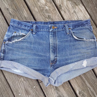 PLUS SIZE High Waisted Denim Shorts - High Waist Jean Shorts - SIZE 14