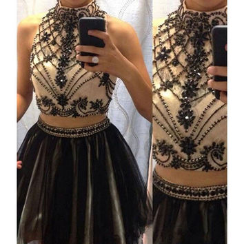 2016 Black Sexy Two Pieces Juniors Short Prom Cocktail Party Dresses Knee Length Crystals Sparkly Beaded Tulle Cocktail Dresses