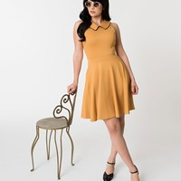 1960s Style Mustard Pointed Collar Sleeveless Fit & Flare Dress