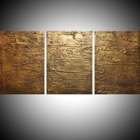"""View: triptych 3 panel wall art colorful images """"Gold triptych"""" antique effect 3 panel canvas wall abstract canvas pop abstraction 48 x 20 """" other sizes available 