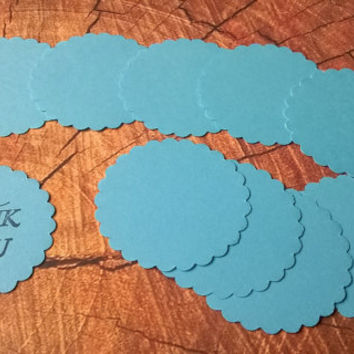 large aqua blue scallop circle Gift Tags with without string hanging round thank you set of 10  blank note memo greeting card cupcake topper