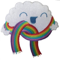 Randy Otter 'Mr. Cloud's New Scarf' Cloud w/ Rainbow Colors Iron On Patch Applique