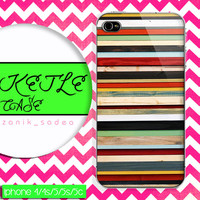 colorfull stripe on wood case, wood iphone case, iphone 4 case iphone 5c case, samsung gaxaly S3 case, samsung gaxaly S4 case