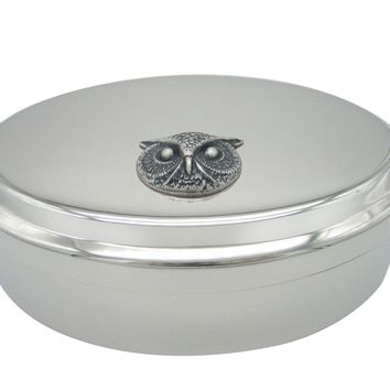 Silver Toned Owl Bird Head Pendant Oval Trinket Jewelry Box