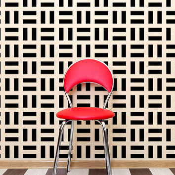 Retro Wall Decor Modern Geometric Wall Decals Mod Mid Century Modern Rectangle Wall Pattern Abstract Mad Men Style Decor Shapes