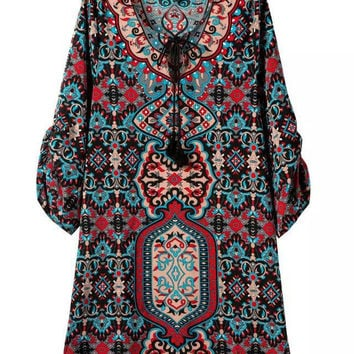 Stylish Vintage Pattern Print V-neck Long Sleeve One Piece Dress [5013236548]