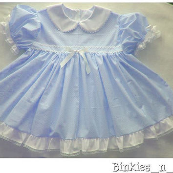Adult Baby Sissy Littles ~ BABY BLUSHES ~ Blue Dress Set ~ Binkies n Bows