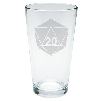DCCKU3R D20 Dice Table Top Game Etched Pint Glass