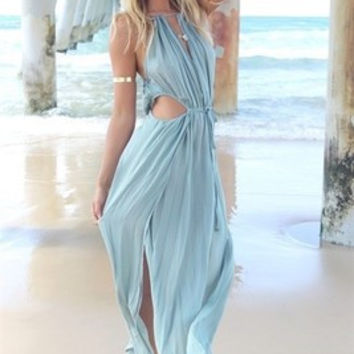 Summer Women Bandage V-Neck Beach Boho Maxi Sundress Long Dress VVF [7860121607]