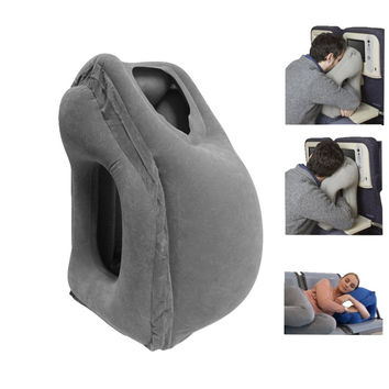 50*35CM Inflatable Travel Pillow Cushion Airplane Pillow Innovative Chin Useful Head Support Air Soft Neck Pillow Free Shipping