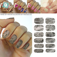 Second-generation trend water transfer Full cover nail sticker nail decals polish patch Grey Marble K5734
