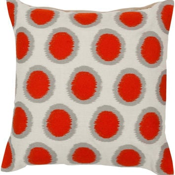 Surya Ikat Dots Pretty Polka Dot Pillow,  Red, Neutral, Gray
