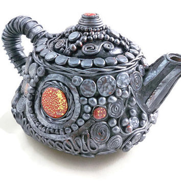 Decorative teapot fancy silver or pewter polymer clay with red and gold details