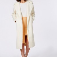 Missguided - Khloe Premium Waterfall Coat Ivory