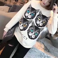 """""""Gucci"""" Women All-match Casual Four Cat Head Pattern Letter Print Long Sleeve Sweater Tops"""