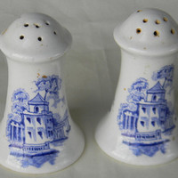 Blue English Transferware Salt and Pepper Shaker Set A J Wilkinson Italy