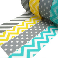Gray Stripes, Yellow Chevron, Aqua Chevron, Gray Polka Dots Washi Tape Set of 4