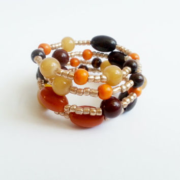 Memory wire bracelet in autumn colors gift idea for her original bracelet wood acrylic glass beads
