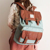 Fashion Leather Cover Canvas Backpack-Blue