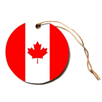 """Bruce Stanfield """"Flag of Canada"""" Red White Circle Holiday Ornament"""