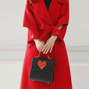 Red Buttons Pockets Belt Turndown Collar Elegant Going out Cardigan Wool Coat