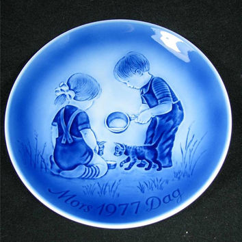 """Vintage DESIREE DENMARK 1977 MOTHERs DaY PLaTE """"Little Friends"""" Mors Dag 1977 Excellent Condition!"""