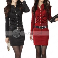 XDIAN Hot Career OL Ladies Long Sleeve Tunic Pencil Mini Slim Casual Dress Free Belt Black and Red - DinoDirect.com