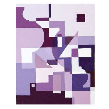Abstract Watercolor Painting Print - Geometric Squres. Purple and  Blue  -  7x10 Print