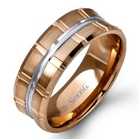 Simon G. Two-Tone Rose and White Gold 9MM Wedding Band