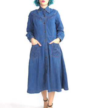 70s Long Sleeve Denim Dress Western Denim Shirt Dress Full Skirt Chambray Blue Jean Dress  Collared Button Down Front Pockets Cotton (M)