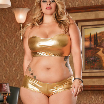 Liquid Metal Plus Size Bandeau and Short Set