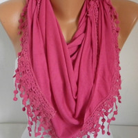 ON SALE - Hot Pink  Scarf - Shawl Scarf - Cowl Scarf - fatwoman