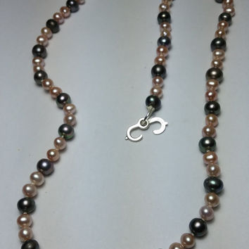 18 inch Pink and Peacock Color Pearl Sterling Silver Necklace