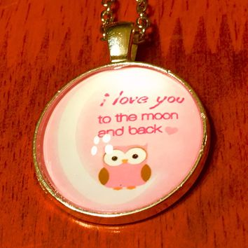 I Love You To The Moon And Back Pink Owl Necklace