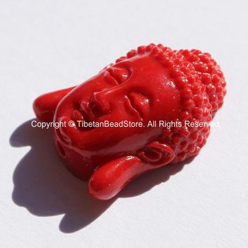2 BEADS - Small Red Resin Buddha Face Beads - B2734-2