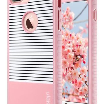 Iphone 7 Plus Case Ulak Slim Shockproof Flexible Tpu Bumper Case Durable Anti Slip Lightweight Front Back Hard Protective Safe Grip Cover For Apple Iphone 7 Plus 5.5 Inch Rose Gold Stripes Minimal