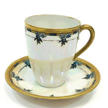 Hand Painted Tea Cup & Saucer, Art Nouveau Demitasse, Chocolate Cup, Artist Signed, Weimar Porcelain, 1905-1924, Antique China Porcelain