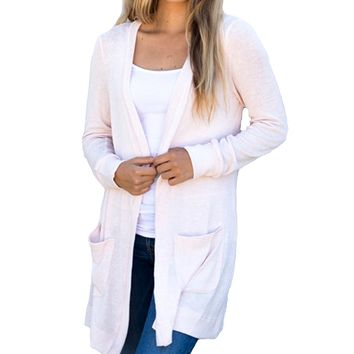 Long Plain Cardigans with Pockets