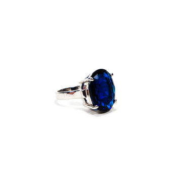 Sapphire Rhinestone Oval Solitaire Cocktail Ring (Small/Indie Brands)