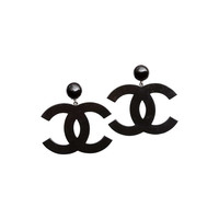 Chanel Large Black CC Dangling Earrings