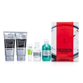 Logistics For Men The Essential Traveler Kit:  Cleanser + Mositurizer + Lip Blam + Shave Cream + Hair & Body Wash - 5pcs