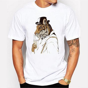 T-shirt to the wild tiger custom design short sleeved T-shirt men's casual tops tees
