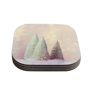 """Sylvia Cook """"Bottle Brush Trees"""" Pink Coasters (Set of 4)"""