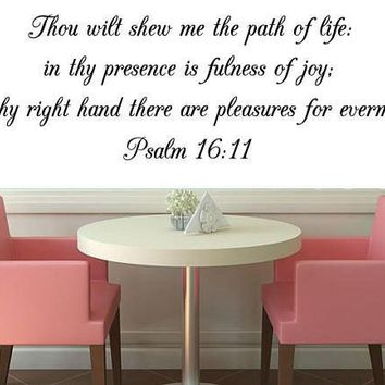 Psalm 16:11 Bible Verse Wall Decal, Bible Wall Art, Scripture Wall Decal Day-First™
