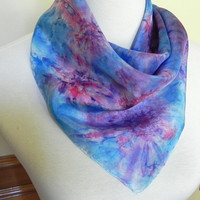Square Silk Scarf Hand Dyed Red, Blue and Purple Abstract, 21 inches Square, Ready to Ship