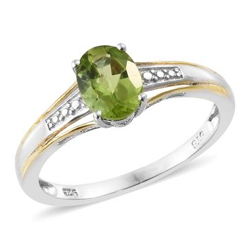 Vermeil Gold and Platinum Over Sterling Silver Peridot Ring