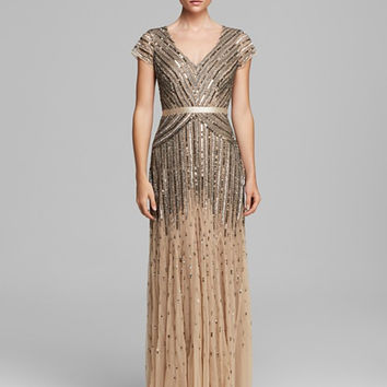 Adrianna Papell Beaded V-neck Gown - Nude