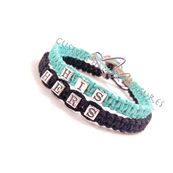 His Hers Bracelets Turquoise & Black Sterling Silver Set of 2