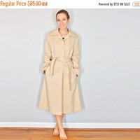 30% OFF 60s Long Winter Coat, Khaki Trench Coat, Medium Large
