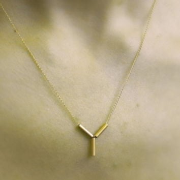 delicate gold filled necklace with tube structure pendant, simple necklace, gental, every day, bridal, bridesmaid, modern, minimalist, gift